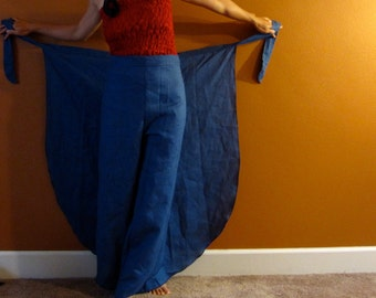 linen butterfly flare wrap around pants made to fit petitle to plus size any height