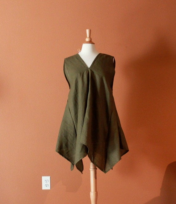 one of the kind  olive linen origami seam flare top size L to  XL ready to ship