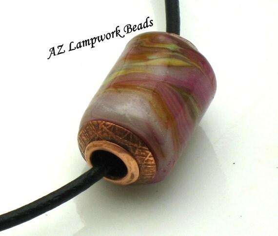 AZ Lampwork Handmade Forged Etched Capped Copper Patina Pink Raku Tube Slider Bead  BHV SRA