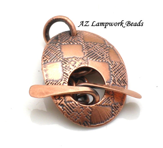 AZ Lampwork Handmade Oval Checkerboard Etched Copper Patina Toggle BHV SRA
