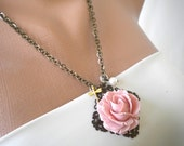 Pink rose cabochon necklace with dragonfly