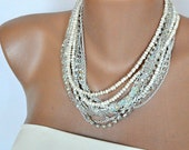 New Season Chunky Layered Ivory Freshwater Pearl Necklace with Rhinestones