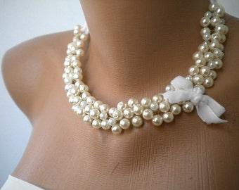 Handmade Weddings Pearl Necklace brides bridesmaid special occasion