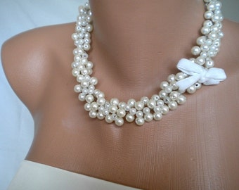 Handmade Weddings Pearl Necklace brides, bridesmaids, special occasion