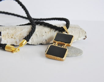 Gift for Mother ,Handmade Black Onyx  Necklace with gold plated 925 Silver, Only one in stock