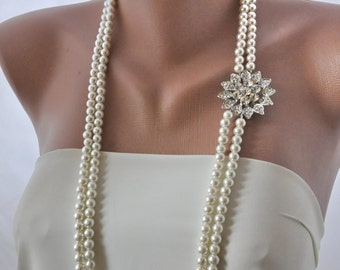 Handmade Wedding Necklace with Pearls and Crystals