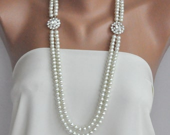 Handmade Wedding Necklace, Pearl Bridal Long Necklace ,Ivory Pearls Long Necklace,Crystal Brooch Necklace,bridal jewellery,multiple strand