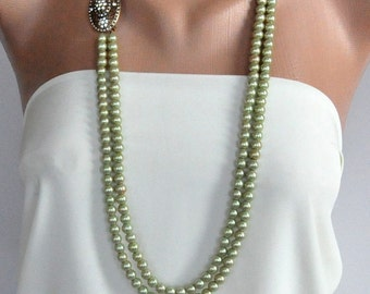Handmade Wedding Necklace with Light Green Glass Pearls and Crystal Brooch