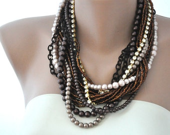 Chunky Layered Pearl Necklace with Rhinestones brides bridesmaids