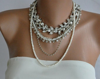NEW Collection Chunky Bridal Freshwater Pearl and Rhinestone Necklace