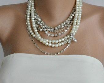 Layered Bridal Necklace, Multi Strand Wedding Necklace, Rhinestone Pearl Necklace, Statement Necklace ,Bridal Bib Wedding Jewelry ,ivory