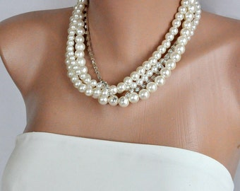 Pearl Necklace,Ivory Pearls, Bridal Classic Necklace, Wedding Pearl Necklace,Statement Pearl Necklace,Pearl Jewelry , bridesmaid gift