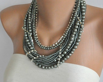 chunky layered necklace Weddings Silver Pearl Necklace brides, bridesmaids gifts