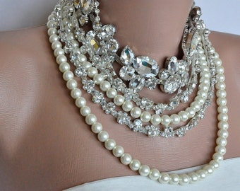 Bridal Statement Necklace, Wedding Necklace, Bridal Necklace, Ivory Pearl Rhinestone Jewelry , Bridal Bib Necklace, Wedding Jewelry