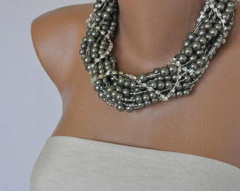 Pearl Wedding Jewelry ,Chunky, Bold ,Bridal , Glass Pearl  Necklace