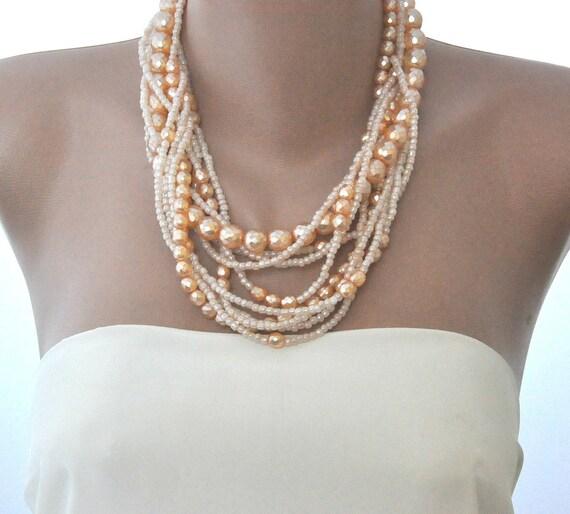 Peach Orange Chunky Brides Czech Glass Pearls  Necklace