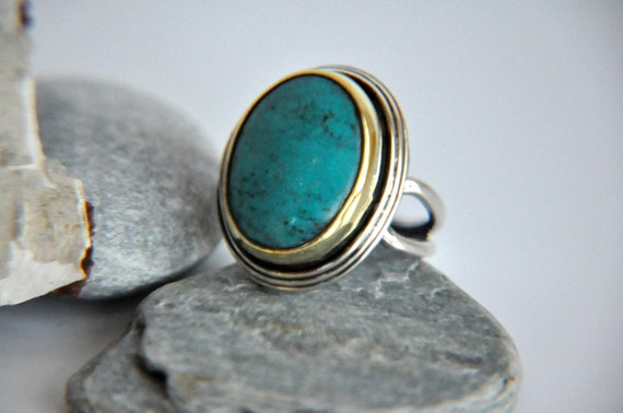 925 Silver Turquoise Antique inspired Ring