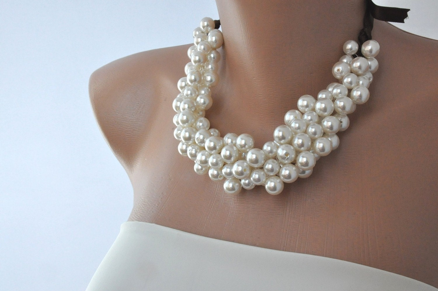 Handmade Wedding Jewellery Ideas : Chunky pearl bridal necklaceivory choker necklace