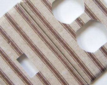 Light Switch Cover Outlet Cover Switchplate -- Striped Fabric-ish Pattern