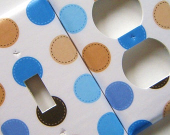 Switchplate Light Switch Cover Outlet Cover Blue and Brown Polka Dot