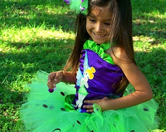 Sparkling Tinkerbell  Birthday  TuTu Dress up OUTFIT with Hair Puff Bow sizes 2t 3t 4t 5t 6 7 girls