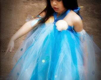 Custom Made Sirena Mermaid Fairy Princess Tutu Dress and Headpiece costume 12 months 18 2t 3t 4t 5t 6