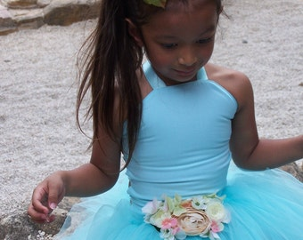 Lovely Summer Mint Aqua Mist Corset  bodice and long Tutu flower girl dress set sizes 12 months 2t 3t 4t 5t 6 girls