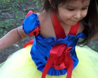Snow White Corset Tutu Dress Set Includes Top, Arm Puffs ,Full Tutu Skirt,Bow headband hair bow