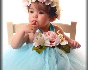 sWeetest Love Rose Aqua Chic  Tutu dress Cake Smash Flower girl size newborn 2t 3t 4t