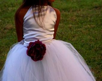 Satin Corset halter style Bridal Flower girl Dress Up sizes newborn to 2t 3t 4t 5t size 6 girls
