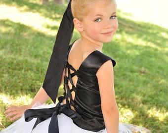Lovely Formal Black corset top with Flowy Floor length tutu skirt sizes newborn to 7 girls