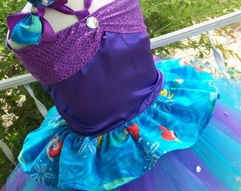 Limited Edition Little Mermaid Ariel Corset top and tutu skirt Set with Bow sizes 2t 3t 4t 5t 6t