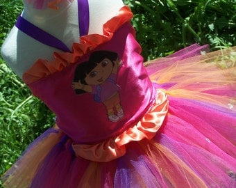 Happy Birthday Dora Fancy Corset Top and Tutu with Bow Set