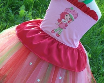 Strawberry Shortcake Corset top and Tutu Birthday Outfit 12 months 2t 3t 4t 5t 6 girls dress up halloween