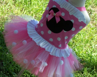 Minnie  Corset top and tutu Set w/ Bow  sizes 12 months 2t 3t 4t 5t 6 7 girls