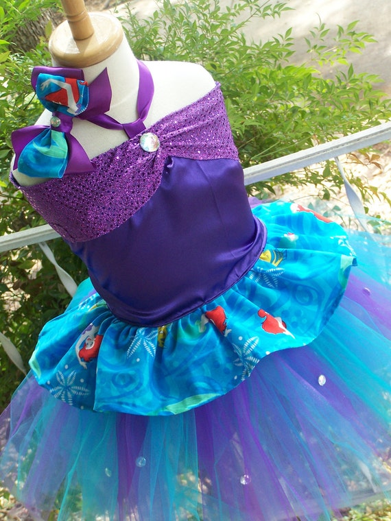 Limited Edition Little Mermaid  Corset top and tutu skirt Set with Bow sizes 2t 3t 4t 5t 6t