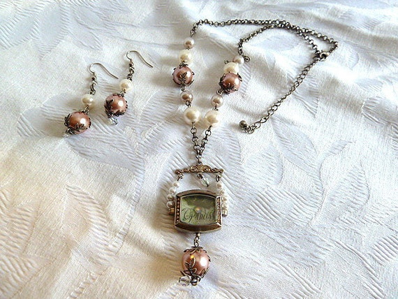 Repurposed Watch Case Steampunk Princess Faux Pearl Necklace and Earring Set