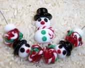 CC Design Lampwork Beads 1055 CandyCanes and  Snowmen SRA
