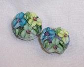 CC Design Lampwork Pair 288 Green Teal and Peridot Garden Flowers SRA