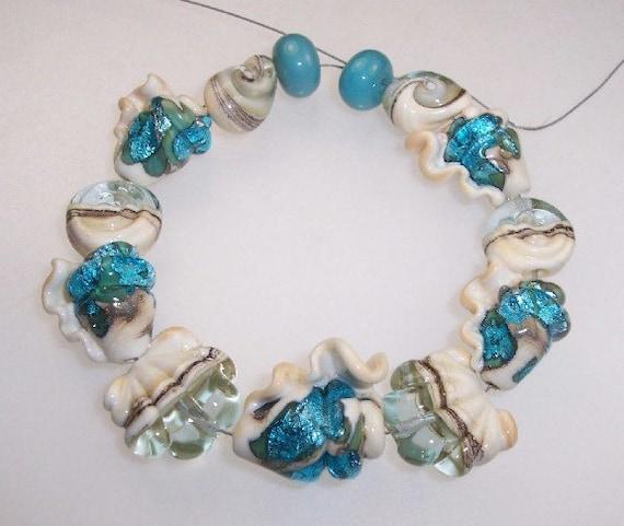 CC Design Lampwork Beads 957 Aqua SeaShells SRA