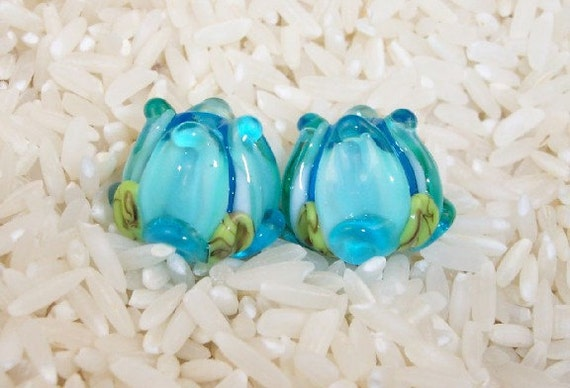 Glass Lampwork Beads Aqua Teal Rose Buds 428 SRA by CC Design
