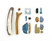 Beachcombing series (No.17), 8 x 10 photograph - blue mussel shells, driftwood and other flotsam