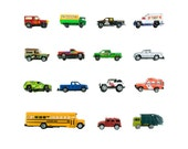 Toy Truck Collection - 8x8 photograph - school bus, garbage truck, jeep, delivery van