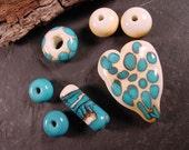 SALE. Handmade Heart Big Hole Lampwork Glass Bead Set Ivory and Turquoise. LWS-26