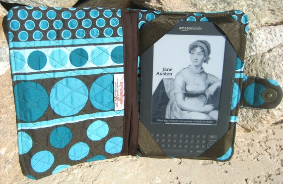 Kindle Paperwhite, Kindle HD, Kindle 3 eReader or Kindle Fire Cover Teal Dots and Dark Brown