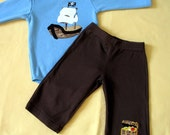 Pirate ship one-piece bodysuit and treasure pants set -- long sleeves