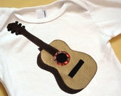 Acoustic guitar one-piece bodysuit or shirt -- long sleeves