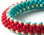 red stripe and turquoise beaded crochet bangle FREE SHIPPING