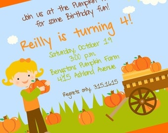 Digital Pumpkin Patch Party Invitation, Pumpkin Patch Invite, Custom Wording, Print Yourself...