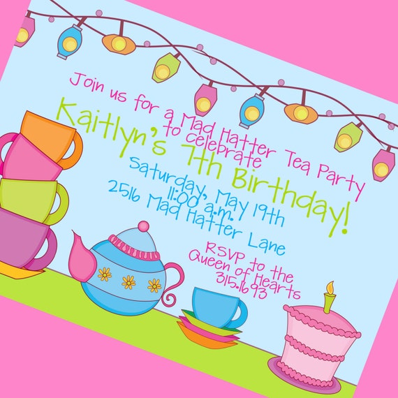 Mad Hatter Tea Party Invitations, 12 5x7 Invitations and Envelopes, Custom Wording
